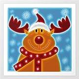DIY Pintar por números Happy_Christmas_Reindeer_Prints DIY de Lienzo Digital para niños y Adultos y Principiantes Sin Marco 30x30cm