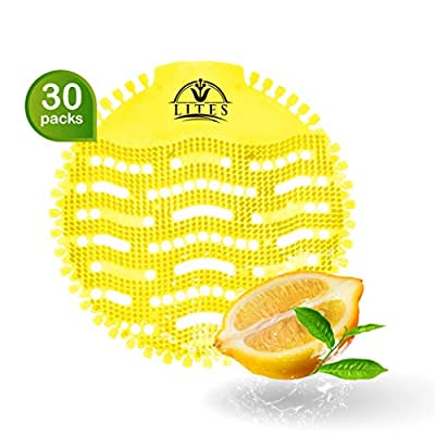 Urinal Screens Deodorizer (30 Pack), Urinal Cake, Anti-Splash & Odor Freshener, Scent Lasts for Up to 5000 Flushes –Ideal for Bathrooms, Restrooms, Office, Restaurants, Schools (Yellow Lemon)