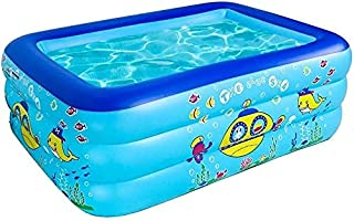 Family Swimming Pool Inflatable Swimming Pool Padding Pool Swimming Pool 3 Layers Thickened Rectangular Family Inflatables...