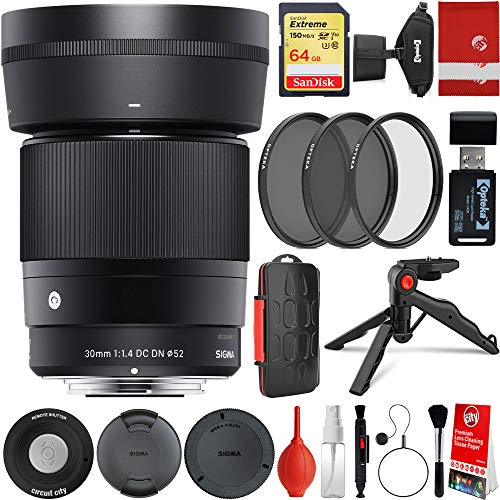 Sigma 30mm f/1.4 DC DN Contemporary Lens Sony E-Mount Bundle with 64GB Memory Card, IR Remote, 3 Piece Filter Kit, Wrist Strap, Card Reader, Memory Card Case, Tabletop Tripod