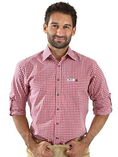 ALMBOCK Trachtenhemd Herren kariert - Slim-fit Männer Hemd wein-rot kariert - Karo Hemd aus 100% Baumwolle in den Größen S-XXXL