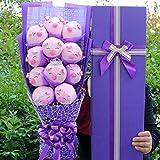 N/L Peluches de Peluche de Dibujos Animados, Cerdo Ramos con Once Flores de jabón, Regalo de graduación de San Valentín 58x25x12cm púrpura