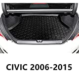 Cargo Liner Car & Trunk Tray Mat for Honda Civic Sedan 2006-2015 Protector Cover Waterproof Anti-Slip in Heavy Duty Black