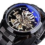 Excellent Reloj de Pulsera para Hombre Reloj mecánico automático Deportes al Aire Libre Esfera esquelética Correa de Acero Inoxidable Luminosa,C01