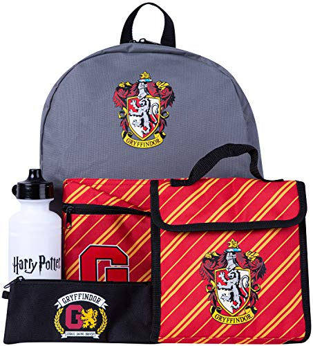 Harry Potter Childrens Backpack 4 Piece School Set Including Lunchbag, Water Bottle and Pencil Case