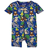 The Children's Place Baby and Toddler Boys Monkey Snug Fit Cotton Cropped One Piece Pajamas, Edge Blue, 2T