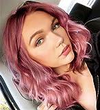 PORSMEER Peluca frontal de encaje ombre rosa con longitud de hombro sintética ondulado bob peluca con raíces oscuras suelta rizado rosa pequeña peluca de encaje 14 pulgadas