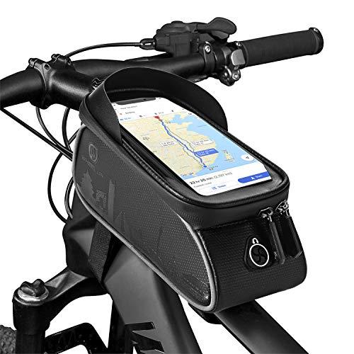 YOUKUKE Bolsa Bicicleta Cuadro, Impermeable Bolsa Bici Manillar con Pantalla Táctil, Caja de Teléfono de Tubo Frontal de Bicicleta de Gran Capacidad para Teléfono Móvil de Menos de 6 Pulgadas