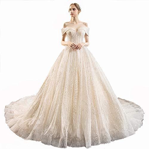 FAPROL Edle Damen Elegante Brautkleider Braut Mit Kurzen Ärmeln Goldene Pailletten Brautkleider Sexy V-Ausschnitt Abendkleider 4 US