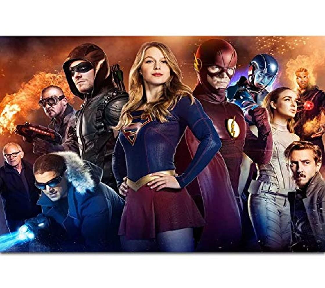 The Supergirl Flash Arrow CW DC TV Series Full Drill Diamond Painting 5D DIY Diamond Embroidery Cross Stitch Rhinestone Art Craft Movie Pictures Mosaic Painting Home Wall Decoration (50X40CM)