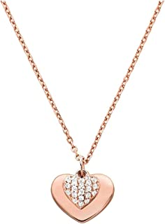 Women's Precious Metal-Plated Sterling Silver Pav¿ Heart Necklace