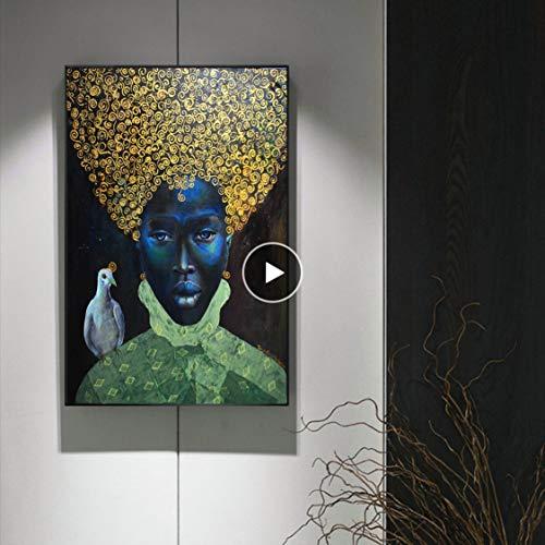 Danjiao Gold Life Afrika Leinwand Gemälde Wandkunst Gemälde Bilder Poster Und Drucke Schwarze Frau Mit Vogel Auf Leinwand Wandbilder Wohnzimmer 40x60cm