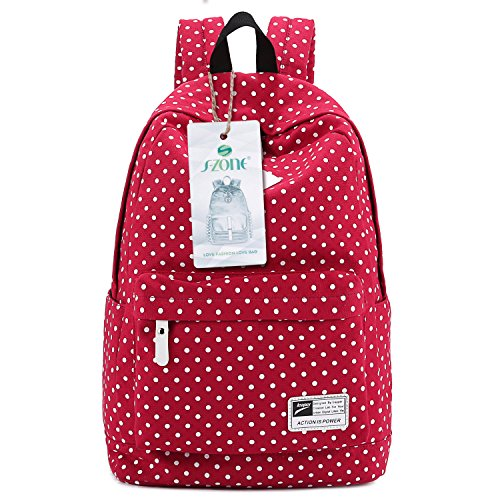 Lightweight Casual Daypack Canvas Polka Dot Backpack 14'-15' Laptop PC School Bag for Teenage Girls