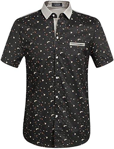 SSLR Camisa Manga Corta Estampada de Algodón Casual para Ve