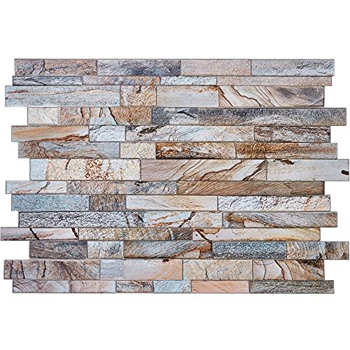 Paneles de revestimiento de pared de PVC con efecto mármol en gris y beige, juego de 16 paneles, 10,02 m², 107,81 m², imitación de ladrillo real Sone - Mezcla brillante con mate