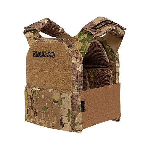 TRAINLIKEFIGHT Metcon Tactical Vest MTV Verstellbare Gewichtsweste für Training, Crossfit, Calisthenie, Fitness (geeignet für Gewichtsplatten, nicht im Lieferumfang enthalten) (Camo - Allterrain)