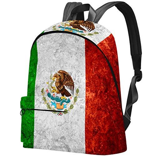 Rucksack mit Basketbällen, wasserabweisend, Anti-Diebstahl, für Damen, Mädchen, Freizeit-Wandern, Reisen, Tagesrucksack Mexikanische Flagge im Vintage-Stil 17.3x13.7x5.5 in