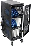 Fully Assembled 18-Device Chromebook Charging Cart - Locking Laptop Cart with Cable Management, Cord Organization, Power Strip - Locks and Stores Tablets up to 14'' and 1.4'' Thick (Black)