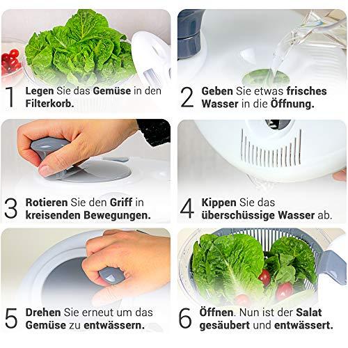 Lacari ® Salatschleuder mit großem [5L] Fassungsvermögen – Optimaler Salattrockner mit Ablaufsieb - Einfaches Bedienen durch Drehen der Kurbel - 6