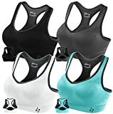 FITTIN Racerback Sports Bras for Women- Padded Seamless High Impact Support for Yoga Gym Workout Fitness Pack of 4 M