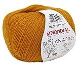 Biowolle Lane Mondial Bio Lana FINE Farbe 338 golden Ocker, 50g Reine Schurwolle zum Stricken, Babywolle Bio
