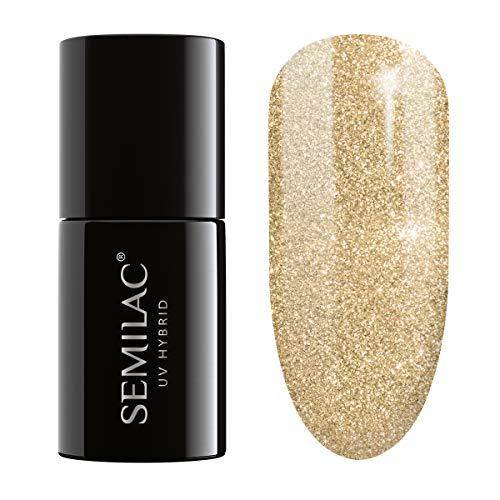semilac UV Hybrid Nagellack, Anzahl 037, 7ml, gold Disco