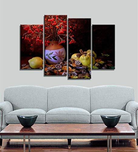 ANTAIBM® 4 Dekorative Malerei Wohnzimmer Fresko Holzrahmen - verschiedene Größen - verschiedene Stile4 Bild Tasse moderne Leinwanddruck Malerei Wandkunst Bild für Küche Raumdekoration Kunstwerk, Wandk