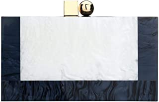 Acrylic Clutch Bags for Women - Nature Marble Style Clutch Box Purse Kisslock Handbag with Removable Chain