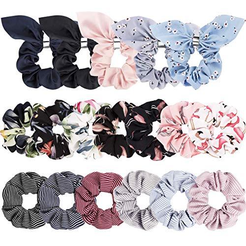 18er Pack Frauen Haargummis Chiffon Blumen elastische Haarbänder Haargummi Seile Scrunchie Haar Chiffon Pferdeschwanz