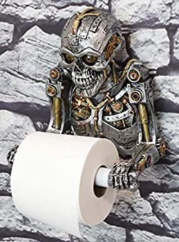 Ebros Gift Grinning Steampunk Rustic Gearwork Cyborg Robotic Skeleton Toilet Paper Holder Dispenser Sculpture Ossuary Macabre Victorian Industrial SciFi Themed Bathroom Wall Decoration Figurine