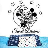 pegatinas de pared infantiles Dulces sueños tatuajes de pared de Minnie Mickey Mouse vinilo estrellas de la luna etiqueta engomada del dormitorio Nursery niños Kids Room Home Decor