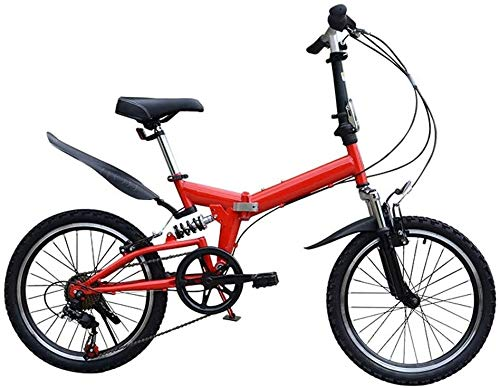 20 Pulgadas Bicicleta Bici Ciudad Plegables Adulto Hombre Mujer, Bicicleta de Montaña Btt MTB Ligero Folding Mountain City Bike Doble Suspension Bicicleta Urbana Portátil, H089ZJ (Color : Red)