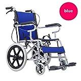 HHORD Silla De Ruedas Autopropulsada Plegable, Dispositivo De Movilidad Ligero para Usuarios Mayores, Discapacitados Y Discapacitados, Silla De Ruedas Portátil para La Independencia,Azul