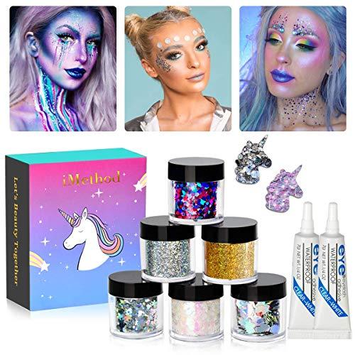 Body Glitter by iMethod - 6 Jars Holographic Glitter, Including Fine Glitter & Chunky Glitter, for Festival & Holiday Makeup, Craft Glitter for DIY Christmas Ornaments
