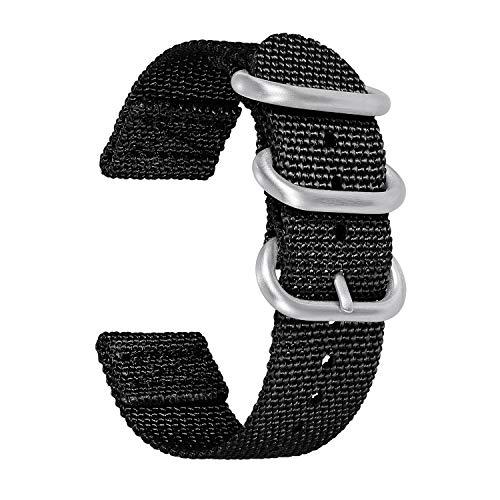 BINLUN NATO Correas de Reloj 18mm 20mm 22mm 24mm Bandas de Reloj de Nylon Reemplazo para Hombres y Mujeres con 5 Colores: Negro, Azul, Gris, Rojo, Verde