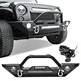 LEDKINGDOMUS Rock Crawler Front Bumper Compatible with 07-18 Jeep Wrangler JK and JK Unlimited, Built-in 90W LED Light Bar w/ 2x 60W Fog Light, Wiring Harness, Winch Plate and D-rings Textured Black