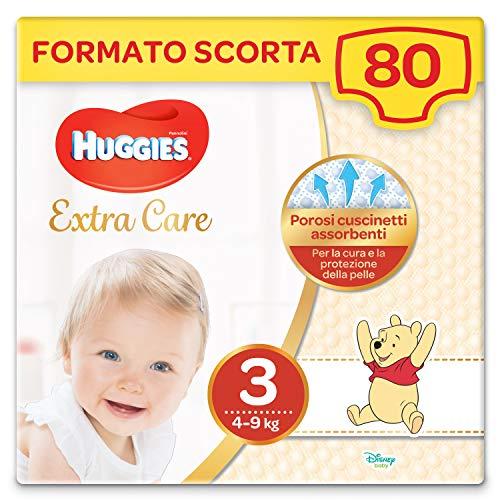 Huggies Pannolini Extra Care, Taglia 3 (4-9 Kg), 2 Confezioni da 40 Pannolini