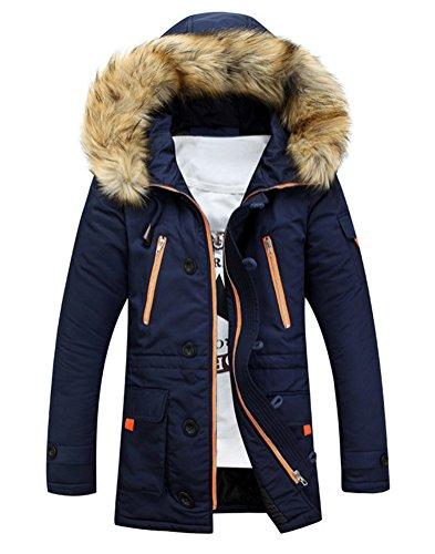 Brinny Homme Hiver Long Manteau à Capuche Col de Fourrure Épaisse Chaud Hoodies Parka Blouson Pardessus Duvet Coton Veste, Bleu Foncé - 2XL