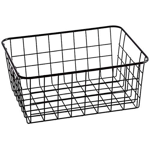 JIAHU Cesto de almacenamiento organizador asas de cocina despensa congelador armario negro 1 pieza