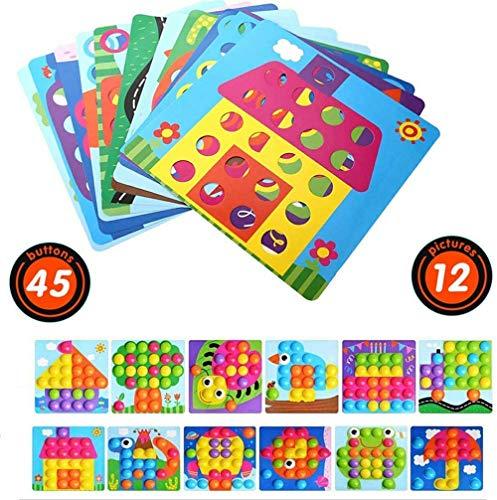 X-LIVE Mosaik Spielzeug für Kinder ab 3 Jahren ,Lernspielzeug Geschenke, Steckspielzeug Pilz Nagel Puzzle Pegboard mit 46 Steckknöpfe und 12 Bunten Steckplätte