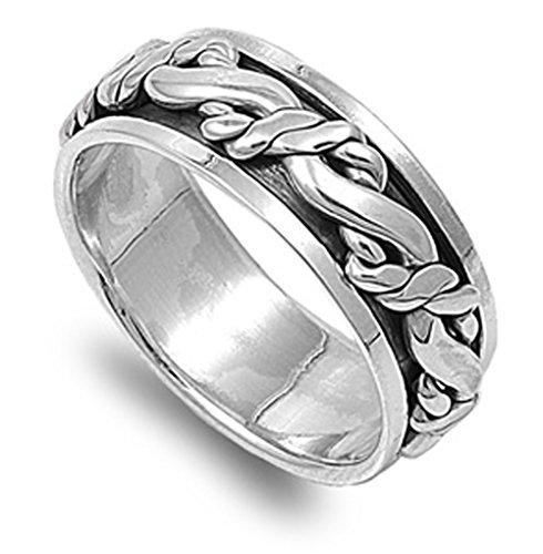 Sterling Silver Men's Celtic Knot Spinner Ring Polished 925 Band 9mm Size 15