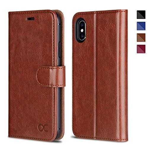 OCASE iPhone XS Hülle iPhone X iPhone 10 Handyhülle [Premium Leder] [Standfunktion] [Kartenfach] [Magnetverschluss] Schlanke Leder Brieftasche Handyhülle für iPhone X/XS (5,8 Zoll) (Bruan)