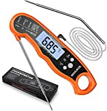 Meat Thermometer, NIXIUKOL Digital Cooking Thermometer with 2 Foldable Long Probe, Kitchen Thermometer with Instant Read, Backlit LCD, Candy Thermometer for Deep Fry Meat Grill, BBQ, Milk (Orange 2)