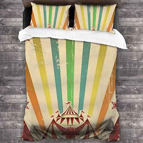 HARXISE Microfibra Juego de Cama Efectos 3 Piezas,Carpa de Circo Antiguo Anuncio Tema Rayas Estrellas y Tienda de Feria,1(140x200cm)+2(50x80cm)