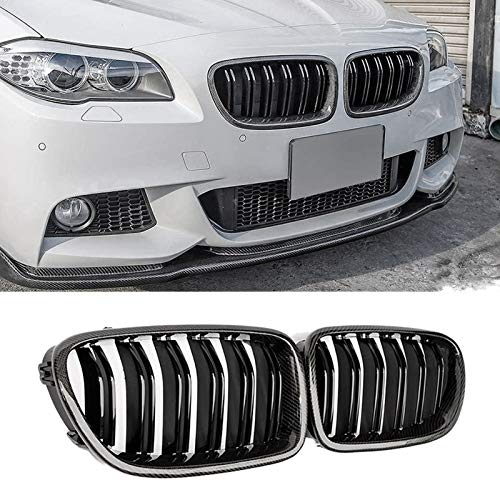JinQiu Car Carbon Fiber Glossy Double Slats Front Kidney Grille Grill Fit for-BMW 5 Series F10 F11 M5 2010-2016 (Color : Black)