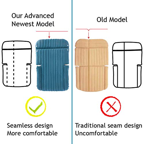WEY&FLY SUV Air Mattress Thickened and Double-Sided Flocking Travel Mattress Camping Air Bed Dedicated Mobile Cushion Extended Outdoor for SUV Back Seat 4 Air Bags