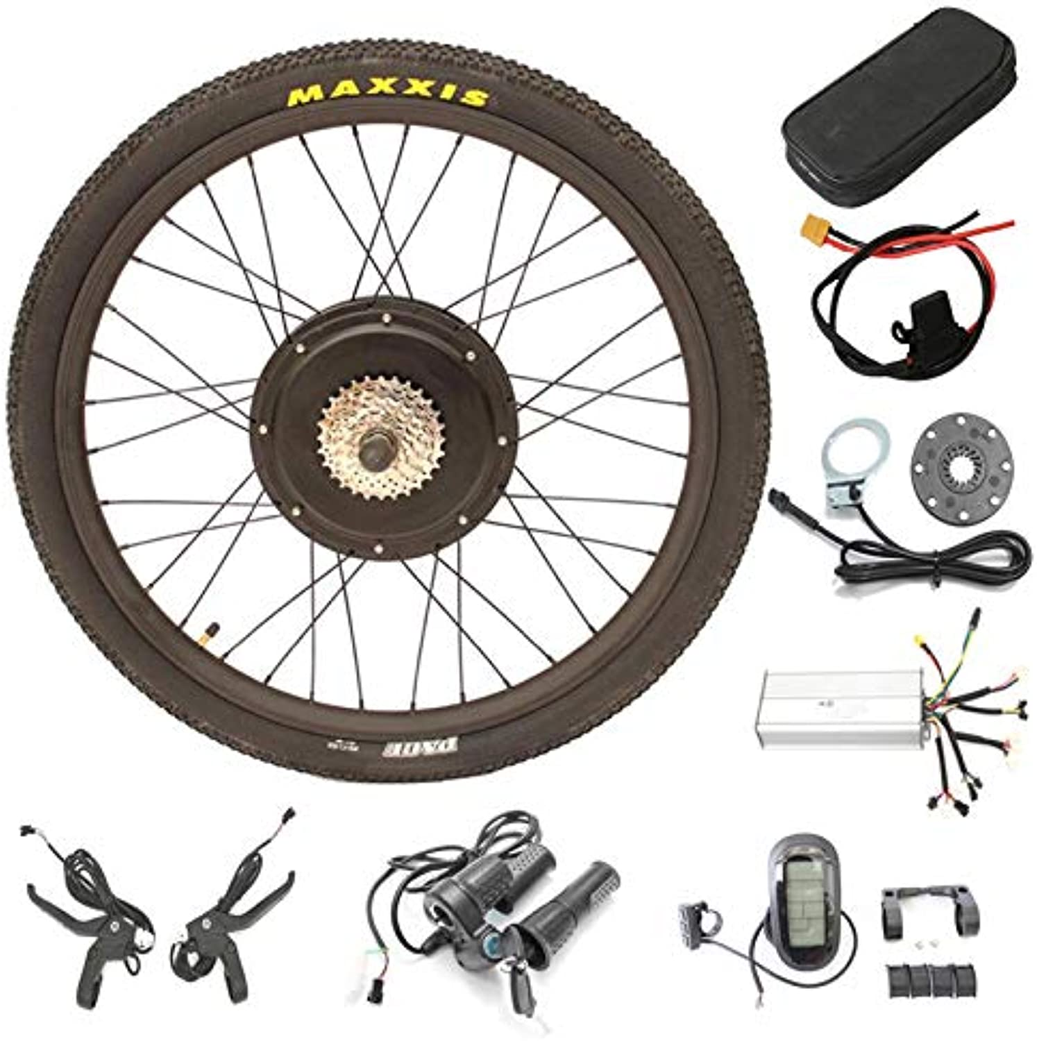 LOLTRA MTB EBike Conversion Kit 48V 1500W Rear Wheel Conversion Kit with 26  27.5  28  Maxxis Tire LCD6 Display with USB Port