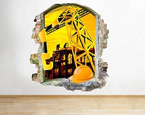HQSM Pegatinas de pared Constructores Casco Grúa Niños Smashed Wall Decal 3D Art Stickers Habitación de vinilo
