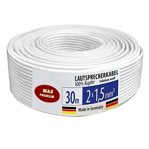 Luidsprekerkabel audiokabel OFC koper (doorsnede 2x1,5 mm2) 30m wit rond metermarkering Made in Germany