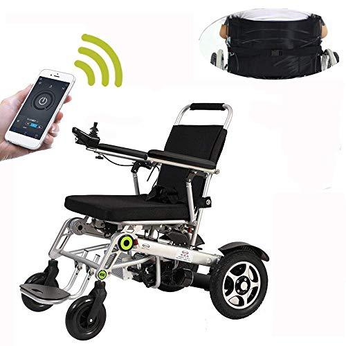 FTFTO Wohnaccessoires Ältere Behinderte Lite Aluminium Rollstuhl 2019 Upgrade Remote Elektrorollstuhl Auto Weisheit Ältere Behinderte Roller Klapplicht Tragegurt